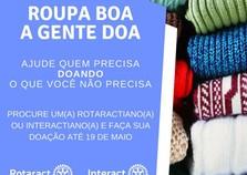Rotaract e Interact de Cruzeiro realizam projeto Roupa boa a Gente doa