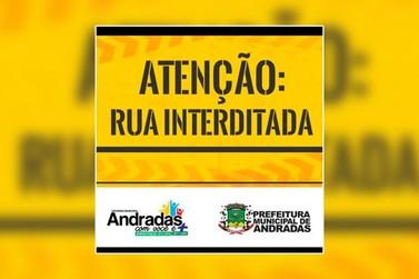 Avenida ficará interditada durante dois dias em Andradas
