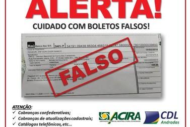 ACIRA alerta comerciantes de Andradas sobre recebimento de boleto falso