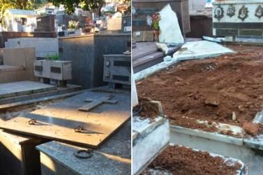 Cemitério é alvo de vandalismo durante a madrugada em Poços de Caldas