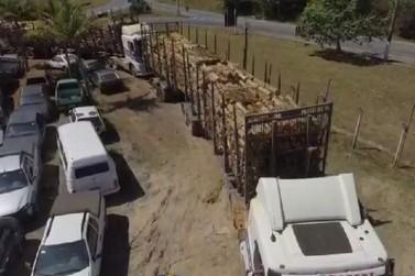 PRF apreende carretas carregadas com madeira com várias irregularidades