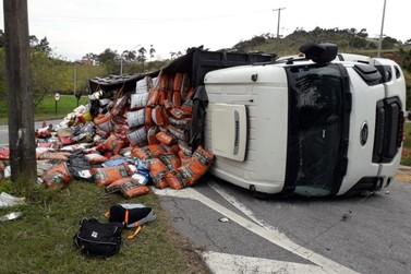 Caminhão roubado carregado com ração tomba na Fernão Dias
