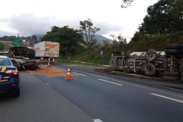 Acidente entre caminhões deixa um ferido e causa lentidão na Fernão Dias