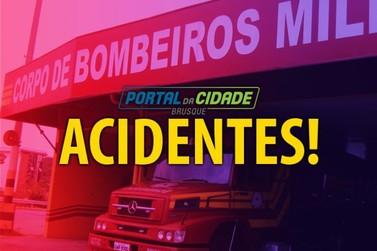 Dois ficam feridos em acidente envolvendo carro e moto, no centro de Brusque