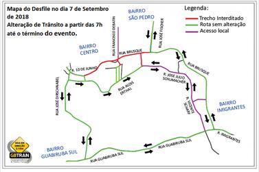 Trânsito é alterado devido desfile cívico em Guabiruba