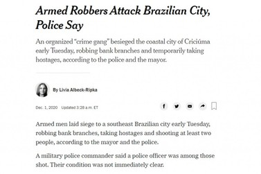 The New York Times repercute mega assalto em Criciúma