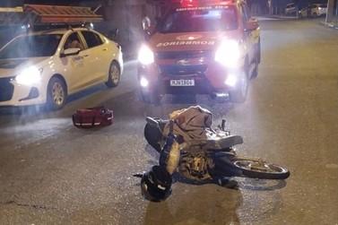 Acidente envolvendo moto e bicicleta deixa duas pessoas feridas em Guabiruba