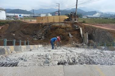 Seguem os trabalhos para reconstrução da Ponte João Libério Benvenutti