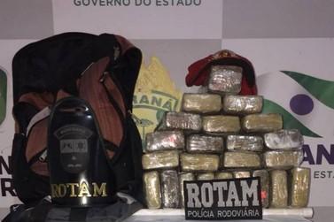 17 quilos de maconha são apreendidos em um ônibus em Cruzeiro do Oeste na PR-323