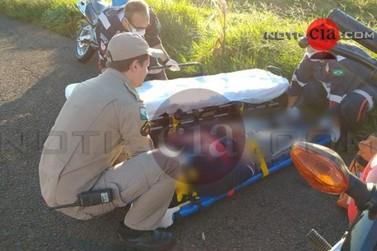 Colisão entre duas motocicletas deixam condutores feridos na PR-323 em Cianorte