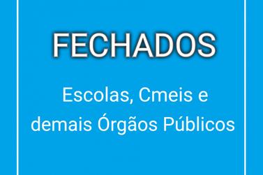 Escolas, cmeis e órgãos públicos permanecerão fechados em Cruzeiro do Oeste