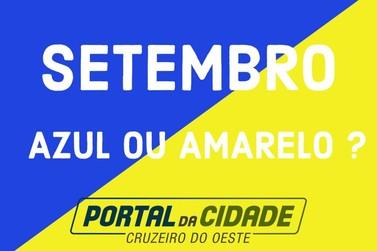 Qual cor representa o mês de setembro: azul ou amarelo?
