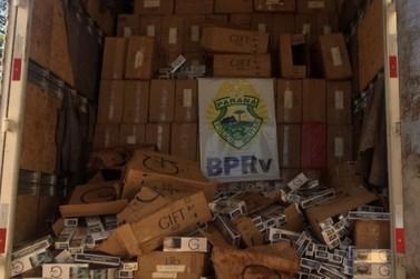 BPRv apreende caminhão carregado com cigarros na PR-323