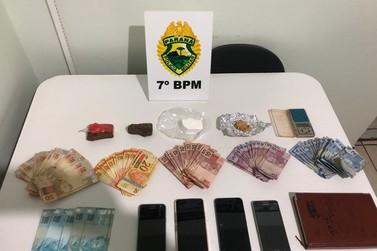Policiais militares apreendem grande quantidade de drogas e dinheiro