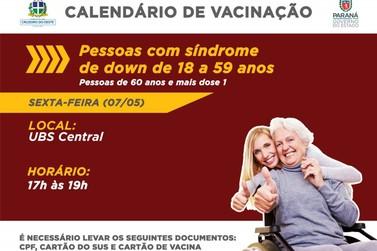 Vacinação em pessoas com Síndrome de Down acontece nesta sexta em Cruzeiro