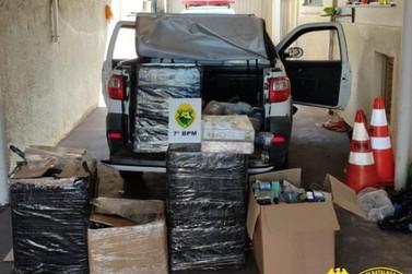 PM apreende carro carregado com aproximadamente 400 produtos contrabandeados