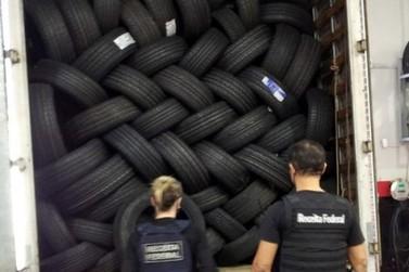 Operação contra esquema de contrabando apreende R$ 100 mil em pneus