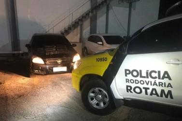 Rotam apreende droga escondida dentro de carro abandonado na PR-468