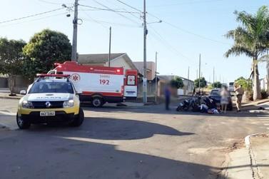 Colisão entre carro e moto deixa motociclista ferido em Douradina