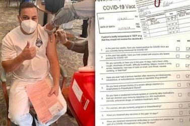 Homem de Cruzeiro do Oeste que reside nos EUA é vacinado contra a Covid-19