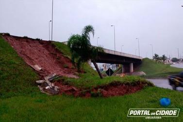 Excesso de chuva provoca desmoronamento do viaduto na PR-323
