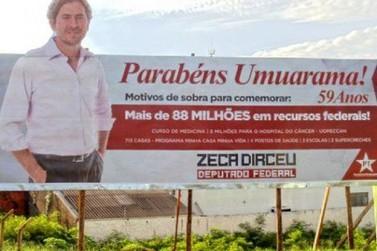 TRE multa Zeca Dirceu em R$ 10 mil pelos oito outdoors instalados em Umuarama