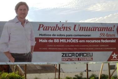 TRE manda Dirceu retirar outdoors em Umuarama