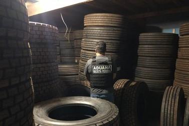 Receita Federal fecha galpão que era utilizado como depósito de pneus