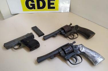 Polícia Civil apreende armas escondidas em bananeira na região central