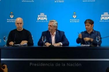 Presidente da Argentina também determina fechamento das fronteiras terrestres