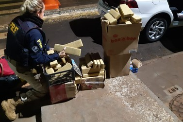 PRF encontra maconha escondida no porta-malas de veículo na BR-277, em STI