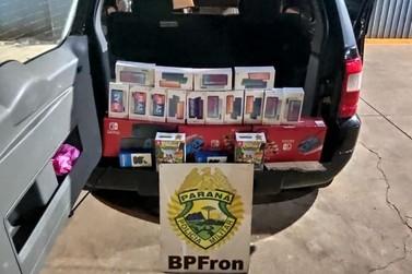 BPFron apreende veículo na fronteira com diversos eletrônicos contrabandeados