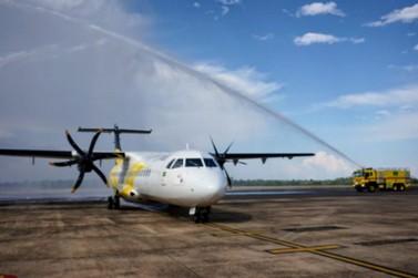 Com festa no aeroporto, Voepass inaugura voo de Foz do Iguaçu para Ponta Grossa
