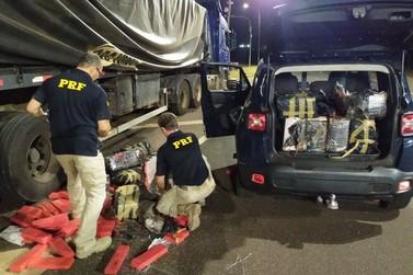 PRF apreende grande quantidade de maconha em caminhão carregado com arroz