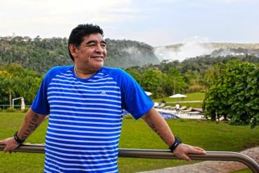 Diego Maradona visitou as Cataratas em Puerto Iguazú em agosto de 2013