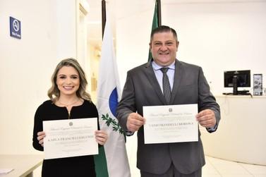 Prefeita de Santa Terezinha de Itaipu e vice são diplomados no Fórum Eleitoral