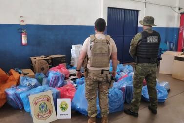 BPFron e PF apreendem mercadorias do descaminho e donos de depósito são presos