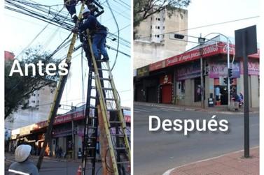 Emaranhados de fios no microcentro de Cidade do Leste está próximo do fim
