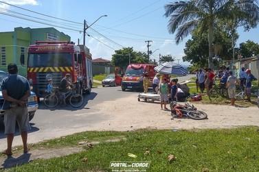 Acidente entre carro e moto no Mirim deixa homem com grave fratura na perna