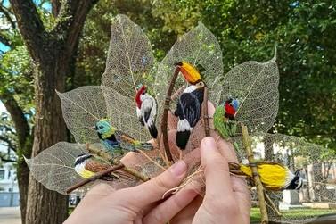 Guaratubana faz sucesso vendendo bordados em folhas de árvores