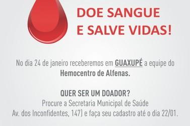Hemocentro de Alfenas realiza coleta de sangue em Guaxupé