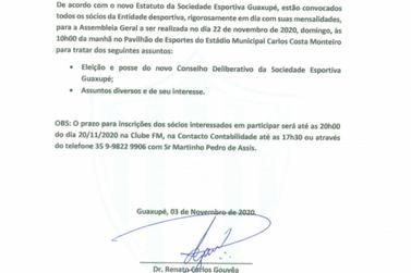 Eleição da nova presidência da Sociedade Esportiva acontece no domingo (22)