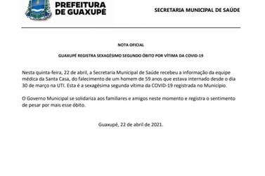 Homem de 59 anos morre de covid em Guaxupé