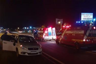 Acidente de trânsito com colisão e capotamento na ERS-115, em Igrejinha