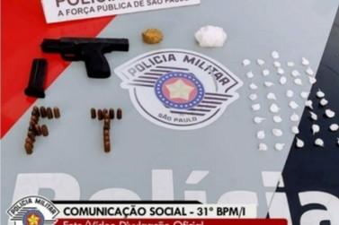 Jovem é preso por posse de arma e tráfico de drogas em Ourinhos