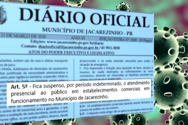 Atendimento presencial do comércio de Jacarezinho ficará suspenso
