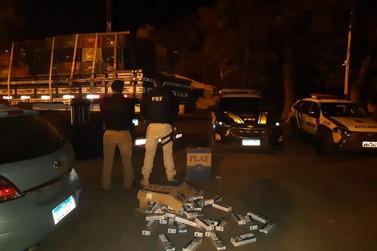 Operação conjunta faz apreensão de caminhão carregado com cigarros