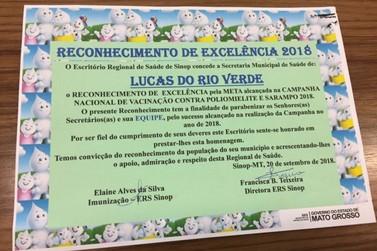 Lucas do Rio Verde recebe reconhecimento de excelência na vacinação