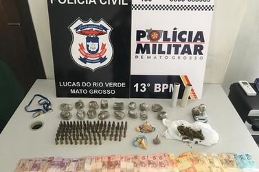 Polícia de Lucas do Rio Verde realiza apreensão de drogas, dinheiro e munição