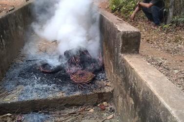Homem é flagrado queimando fios de cobre no Parque dos Buritis